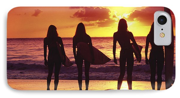 Surfer Girl Silhouettes IPhone Case by Sean Davey