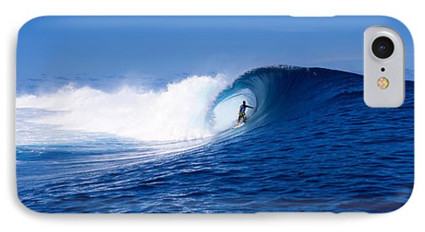 Surfer In The Sea, Tahiti, French IPhone Case by Panoramic Images