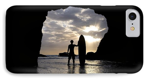 Surfer Inside A Cave At Muriwai New Phone Case by Deddeda