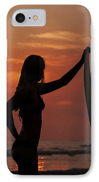 Surfer Sunset Silhouette IPhone Case by Lee Kirchhevel