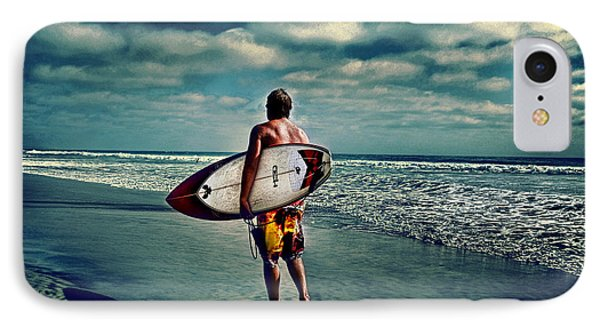 Surfer Walking The Beach IPhone Case by James David Phenicie