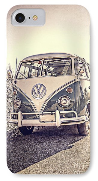 Surfer's Vintage Vw Samba Bus At The Beach IPhone Case by Edward Fielding