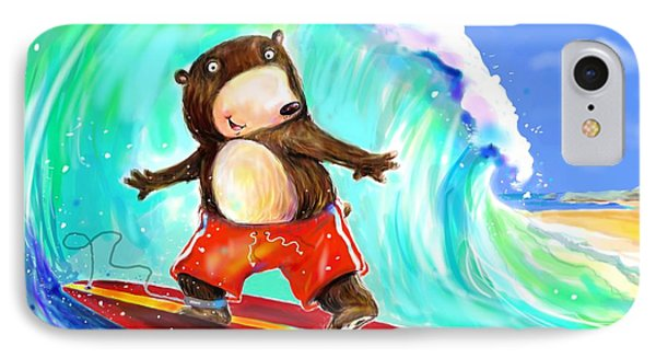 Surfing Bear IPhone Case by Scott Nelson