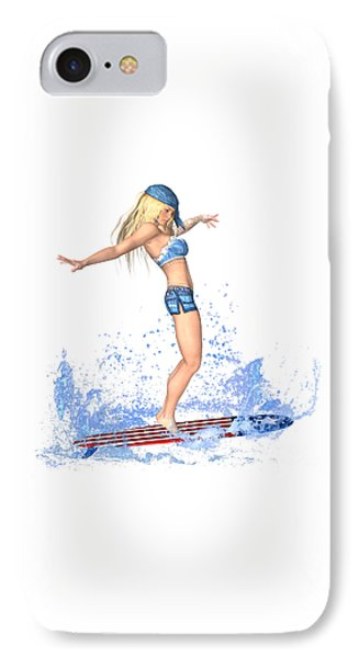 Surfing Girl IPhone Case by Renate Janssen