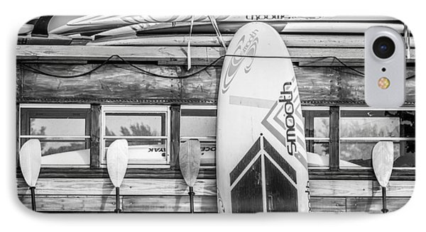 Surfs Up - Vintage Woodie Surf Bus - Florida - Black And White IPhone Case