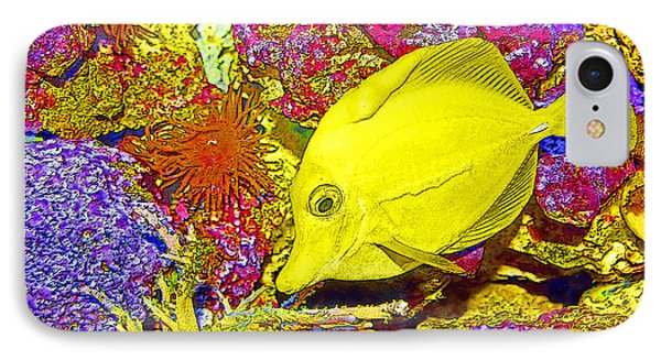Surgeon Fish Yellow Tang Digital Art IPhone Case by A Gurmankin