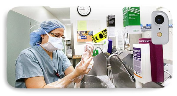 Surgeon Scrubbing Before Surgery IPhone Case