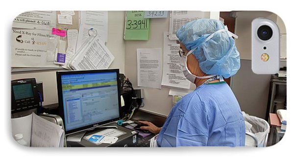 Surgical Nurse Using Computer IPhone Case