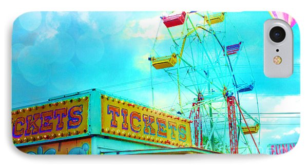 Surreal Aqua Teal Carnival Tickets Booth With Ferris Wheel And Hot Air Balloons - Carnival Fair Art IPhone Case by Kathy Fornal