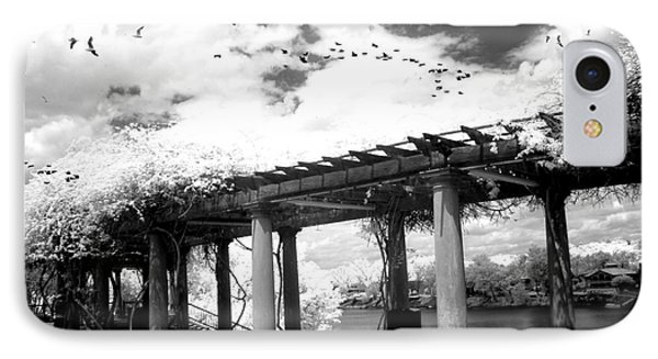 Surreal Augusta Georgia Black And White Infrared  - Riverwalk River Front Park Garden   IPhone Case by Kathy Fornal