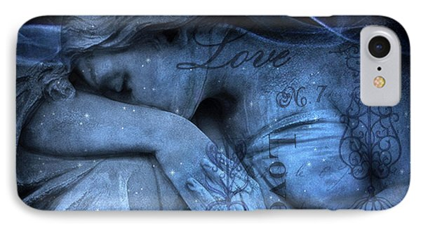 Surreal Blue Sad Mourning Weeping Angel Lost Love - Starry Blue Angel Weeping With Love Script IPhone Case by Kathy Fornal