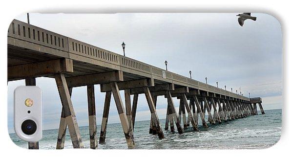 Surreal Ocean Coastal Fishing Pier Seagull Wrightsville Beach North Carolina Fishing Pier IPhone Case