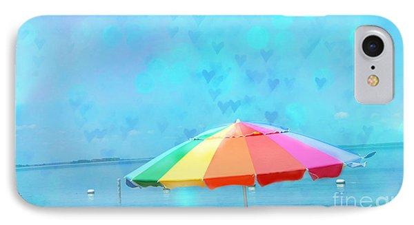 Surreal Blue Summer Beach Ocean Coastal Art - Beach Umbrella  Phone Case by Kathy Fornal