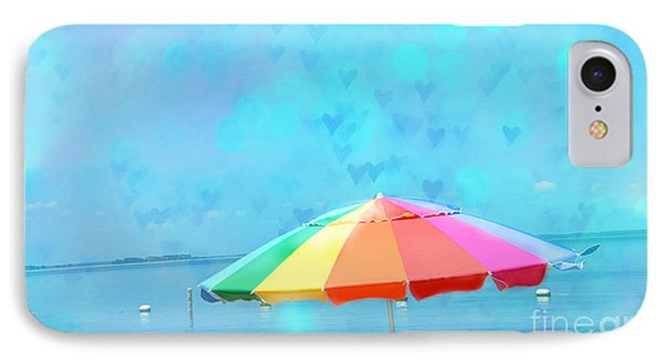 Surreal Blue Summer Beach Ocean Coastal Art - Beach Umbrella  IPhone Case by Kathy Fornal