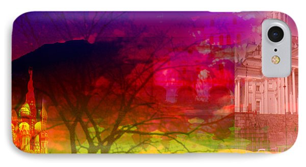 IPhone Case featuring the digital art Surreal Buildings  by Cathy Anderson