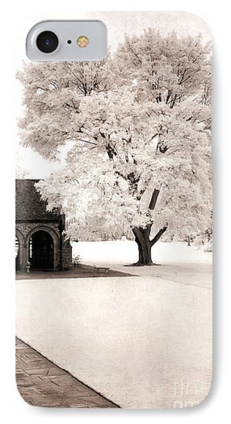 Surreal Dreamy Ethereal Winter White Sepia Infrared Nature Tree Landscape IPhone Case by Kathy Fornal