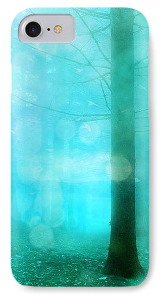 Surreal Dreamy Fantasy Bokeh Aqua Teal Turquoise Woodlands Trees  IPhone Case by Kathy Fornal