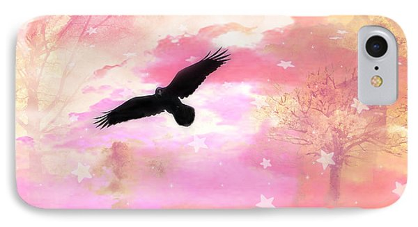 Surreal Dreamy Fantasy Ravens Pink Sky Scene Phone Case by Kathy Fornal