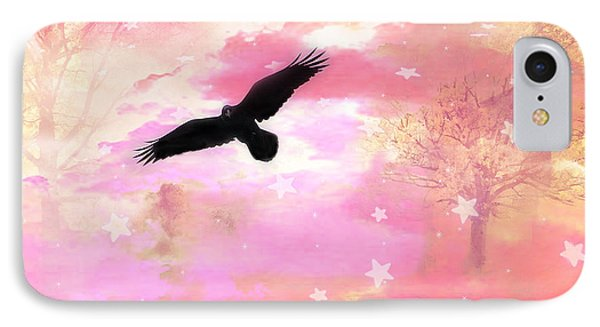 Surreal Dreamy Fantasy Ravens Pink Sky Scene IPhone Case by Kathy Fornal