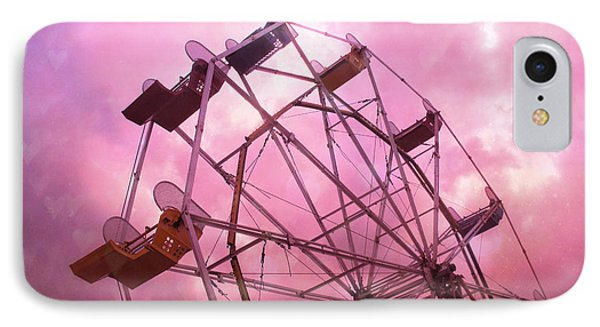 Surreal Hot Pink Ferris Wheel Pink Sky - Carnival Art Baby Girl Nursery Decor IPhone Case