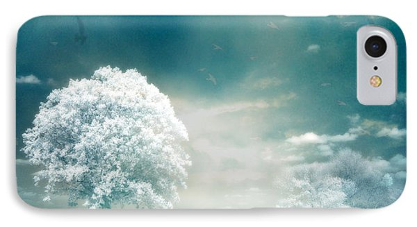 Surreal Dreamy Infrared Teal Turquoise Aqua Nature Tree Lanscape IPhone Case by Kathy Fornal