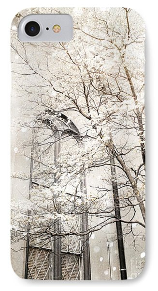 Surreal Dreamy Winter White Church Trees Phone Case by Kathy Fornal