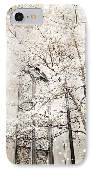 Surreal Dreamy Winter White Church Trees IPhone Case