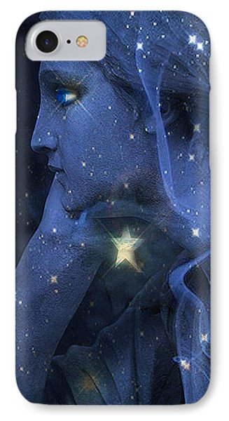 Surreal Fantasy Celestial Blue Angelic Face With Stars IPhone Case by Kathy Fornal