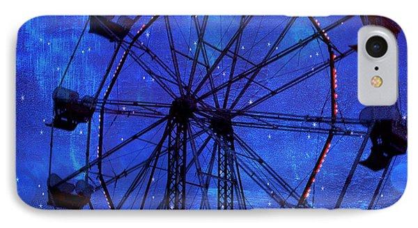 Surreal Fantasy Dark Blue Ferris Wheel Starry Night - Blue Ferris Wheel Carnival Decor IPhone Case by Kathy Fornal