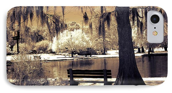 Surreal Fantasy Ethereal Infrared Sepia Park Nature Landscape  IPhone Case by Kathy Fornal