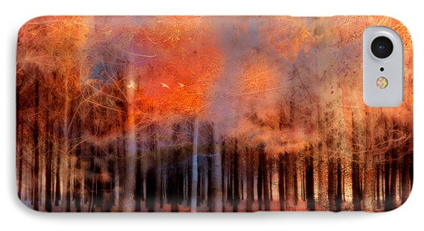 Surreal Fantasy Ethereal Trees Autumn Fall Orange Woodlands Nature  IPhone Case by Kathy Fornal