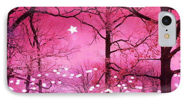 Surreal Fantasy Fairytale Dark Pink Haunting Woodlands Nature With Stars And Twinkling Lights IPhone Case