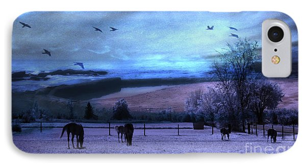 Surreal Fantasy Fairytale Horse Landscapes - Fairytale Blue Skies IPhone Case by Kathy Fornal