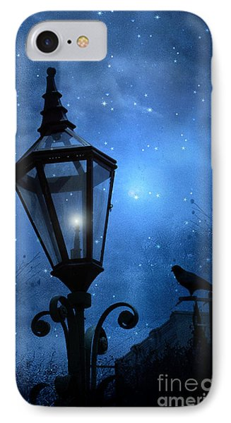 Surreal Fantasy Gothic Blue Night Lantern With Ravens - Starry Night Surreal Lantern Blue Moon Phone Case by Kathy Fornal