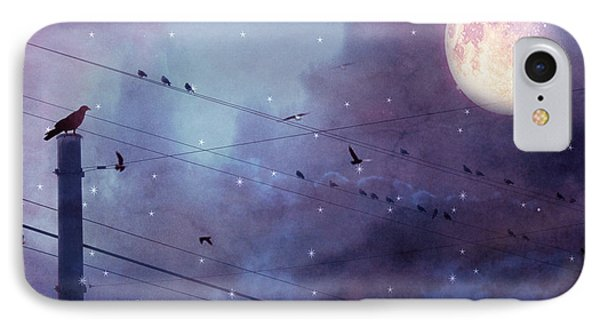 Surreal Fantasy Gothic Raven Moonlit Starry Night - Raven Birds On Powerline With Moon And Stars  IPhone Case