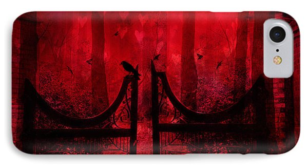 Surreal Fantasy Gothic Red Forest Crow On Gate Phone Case by Kathy Fornal