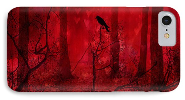 Surreal Fantasy Gothic Red Woodlands Raven Trees Phone Case by Kathy Fornal