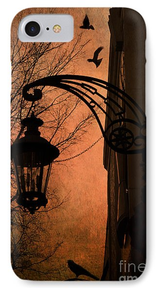 Surreal Fantasy Gothic Street Lantern With Crows And Ravens IPhone Case by Kathy Fornal