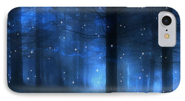 Surreal Fantasy Haunting Blue Sparkling Woodlands Forest Trees With Stars - Starlit Fantasy Nature Phone Case by Kathy Fornal