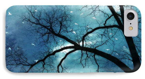 Surreal Fantasy Haunting Gothic Tree With Birds Phone Case by Kathy Fornal