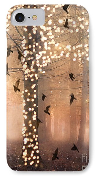 Surreal Fantasy Nature Trees Woodlands Forest Sparkling Lights Birds And Trees Nature Landscape IPhone Case by Kathy Fornal