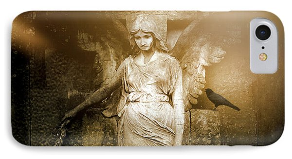 Surreal Gothic Angel Art Photography - Spiritual Ethereal Sepia Angel With Black Raven  IPhone Case
