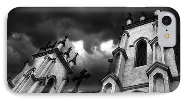 Surreal Gothic Black And White Church Steeple With Cross - Haunting Spooky Surreal Gothic Church IPhone Case