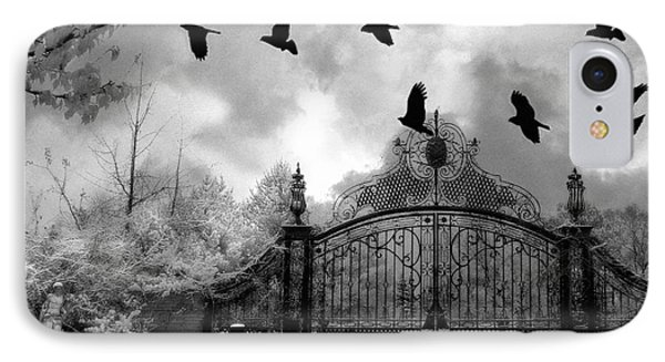Surreal Gothic Black And White Gate With Flying Ravens  IPhone Case by Kathy Fornal