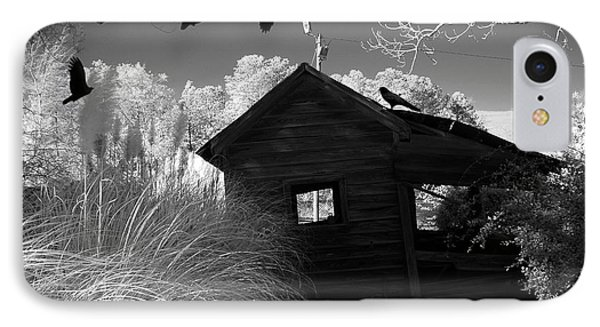 Surreal Gothic Black And White Infrared Nature Haunting Old House With Flying Ravens IPhone Case