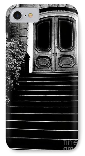 Charleston Surreal Gothic Black And White Staircase And Door With Gargoyle IPhone Case by Kathy Fornal