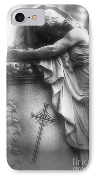 Surreal Gothic Cemetery Angel Mourner Draped Over Coffin With Cross- Haunting Cemetery Sculpture Art IPhone Case