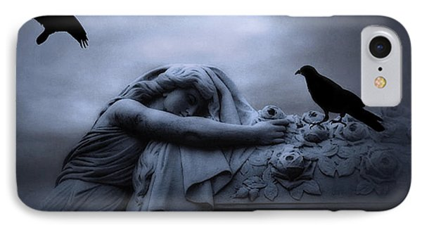 Surreal Gothic Cemetery Female Mourner Draped Over Coffin With Ravens - Surreal Blue Cemetery Art IPhone Case