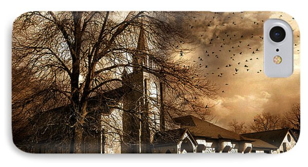 Surreal Gothic Church Fall Autumn Dark Sky And Flying Ravens  IPhone Case by Kathy Fornal