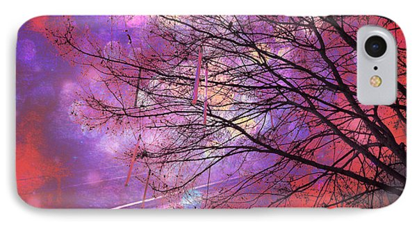 Surreal Gothic Fantasy Abstract Bokeh Tree Nature - Abstract Black Purple Orange Trees IPhone Case by Kathy Fornal